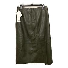 VINCE Slit Leather Skirt Forest Green Size 4