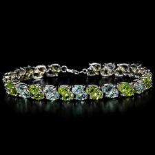 Armband, 925 Sterling Silber Weißgold beschichtet Grün Peridot & Blautopas, Neu