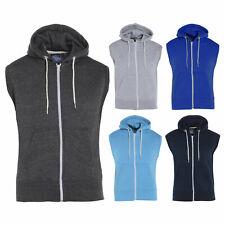 Mens Boys Sleeveless Hoodie Black Gym Hooded Zip Sweatshirt Gilet S M L XL