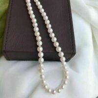 "Top Grading Japanese Akoya AAA 7-6mm white pearl Necklace 16"" 18"" 20"" 14k clasp"