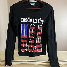 Vtg y2k dELiA*s Made in the USA Black Long Sleeve T Shirt Juniors Sz Med