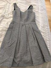 Pinko Dress 42 Black White Pattern Print Pleated Sleeveless V Neck