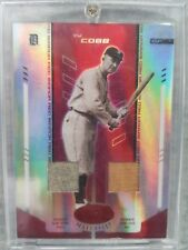 2004 TY COBB LEAF CERTIFIED MIRROR RED MARBLE SP DUAL GAME USED JERSEY BAT 15/50