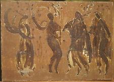 Tableau Huile Étude Fresque c.1940 André DELAHAIZE Poitou-Charentes Oléron #24