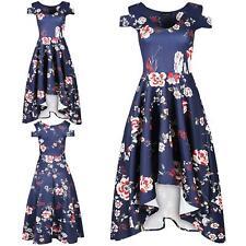 Women Ladies Floral Printed Cap Sleeve Cold Cut Shoulder Skater Hi Lo Midi Dress