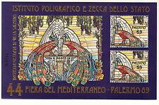 FOGLIETTO IPZS SHEETLET 44° FIERA MEDITERRANEO1989 PAVONI NUMERATO