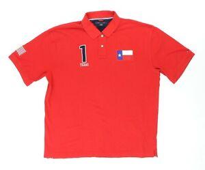"Tommy Hilfiger Men 2XL 52"" Texas Flag USA Polo Shirt Red Cotton Patriotic"