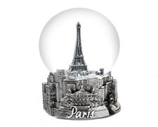 Paris France Eiffel Tower In Silver - Exclusive 65Mm Snow Globe-New