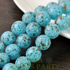 New 5pcs 14mm Lampwork Glass Dots Loose Spacer Round Beads Charms Lake Blue