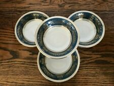 "Wedgwood Columbia Blue and Gold 4 Cereal Bowls 6"" Ice Cream Dessert Bowls"