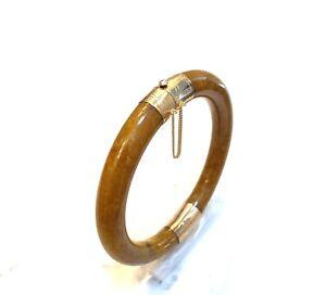 Genuine Gemstones Red Jade Bangle Bracelet in Yellow Gold Filled