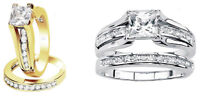 Women's 925 sterling silver yellow or white Princess Cut Wedding Ring Sz 4-11.5