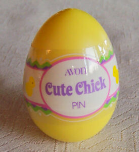 "RARE! Vintage 1983 Avon ""CUTE CHICK"" Girl's Easter Egg Tack Pin - NEW, SEALED!"