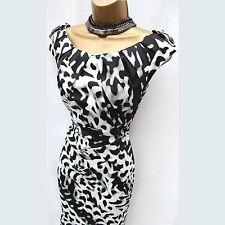 Exquisite KAREN MILLEN Black White Animal Print Cocktail Wiggle Pencil Dress 10