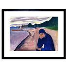 Painting Edvard Munch Melancholy 1893 Framed Art Print Poster 9x7 Inch