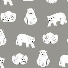 Organic Cotton Flannel Cloud 9 - Polar Bears -Dark Grey - Northerly Range 170gsm