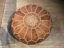 NEW 100% Leather Stunning Moroccan Ottoman or Pouf or Pouffe