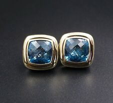 David Yurman 18k Gold Sterling Silver Large Albion Hampton Topaz Earrings ES1584