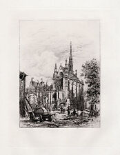 "ORIGINAL DEBAINES 1800s Etching ""Sainte Chapelle, Holy Chapel"" SIGNED Framed COA"
