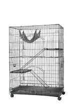 Homey Pet Large Folding Wire Cat Cage Crate w/ Hammock Ladder Shelve Tray Caster