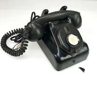 ANTIQUE LEICH MAGNETO BLACK BAKELITE CRANK RINGER DESK TELEPHONE HOTEL VINTAGE
