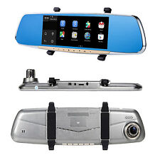 """New Smart Android 7"""" HD Rear View Mirror GPS WIFI Car DVR Dual Camera Recorder"""