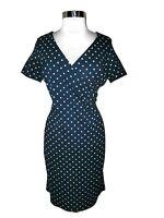 LANDS' END Size 10 Sheath Dress Blue White Polka Dot Short Sleeve Ponte Knit