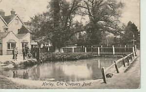 1906 HORLEY - The Chequers & Pond, people, trees