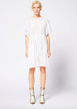 $490 ISABEL MARANT ETOILE WHITE COTTON VOILE LACE A-LINE ANNAELLE DRESS 36 4