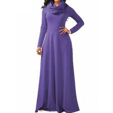 Women Maxi Dress Cowl Neck Casual Long Sleeve Swing Fall Winter Dress Loose Fit
