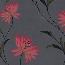 Nouveau Belgravia ZOE Floral Texturé Vinyle Papier Peint Caractéristique Paillettes Noir / Rouge 214