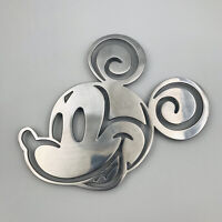 """Disney Mickey Mouse Hot Pad Trivet Silver Tone Footed Hot Pan Rest 9.75"""" x 8"""""""