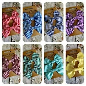 Handmade Gingham School Hair Bows Multiple Colours Available Set of 2
