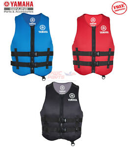 YAMAHA Neoprene 2-Buckle PFD Life Jacket Vest USCG Appv Red Black Blue MAR-19VVN