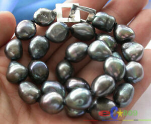 """p2067 17"""" 15mm BAROQUE TAHITIAN BLACK PEARL NECKLACE"""