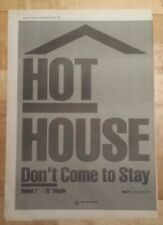 Hot House Don't come to stay 1987 press advert Full page 30 x 42 cm mini poster