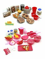 Toy Dishes Food and Drinks, Meal with Desert Set Kitchen Playset for Kids Preten
