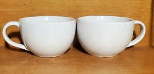 "Pampered Chef SIMPLE ADDITIONS Soup mug set of 2, 16 oz / 3"" x 4 5/8"", White EUC"