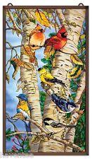 "AMIA STAINED GLASS 13"" X 23"" SUNCATCHER SONGBIRDS FAVORITES ON TREE PANEL #9749"