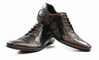 MENS ZASEL BROWN LEATHER SHOES LACE UP WORK FORMAL CASUAL MEN'S DRESS SHOES