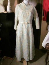 Vintage Hand Made Blue Silver Gold Gown Size S/M Petite