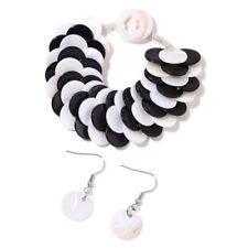 Black & White Shell Coin Bracelet (Size 7.5) and Hook Earrings in Silver Tone