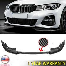 US Carbon Fiber Look Front Bumper Lip Spoiler For 19-21 BMW 3 Series G20 M Sport