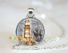 Nautical Light House dome glass Tibet silver Chain Pendant Necklace wholesale