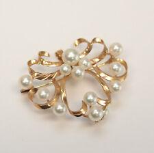 Vintage 14k Rose Gold and Pearl Brooch Pendant, ribbon like scrolls