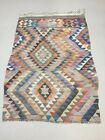 Vintage Turkish Kilim 190x140 cm Tribal Kelim Rug, Pink, Beige, Green Medium