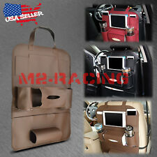 Brown Car Seat Back Storage Bag Organizer synthetic leather iPad iPhone Holder