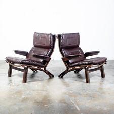 Mid Century Danish Modern Lounge Chairs Pair Dark Brown Leather Sling Armchairs