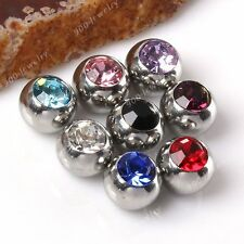 10x 16G/14G CZ Crystal Body Piercing Jewelry Replacement Balls For Nose Ear Ring
