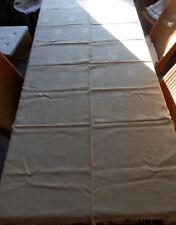 GRANDE  NAPPE ANCIENNE DAMASSEE MARGUERITES A FRANGES    180 X 176 cm